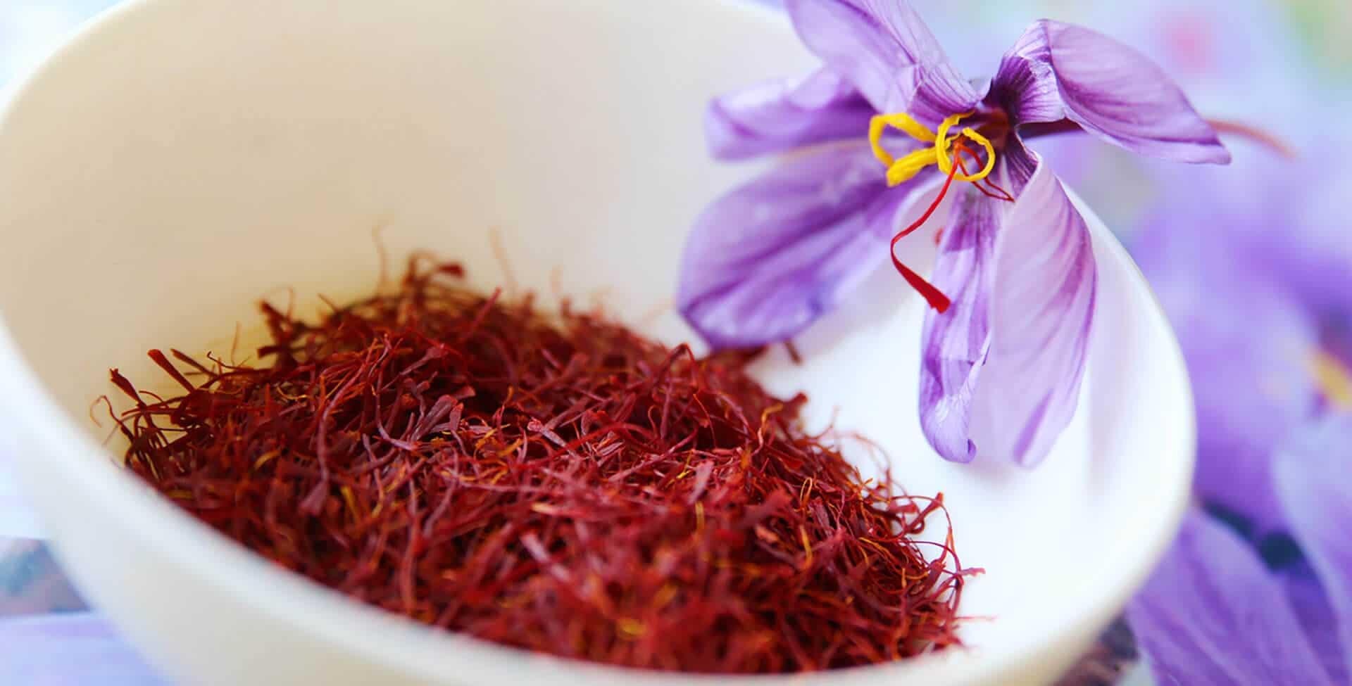 açafrão seco em uma tigela com uma flor do açafrão ao lado