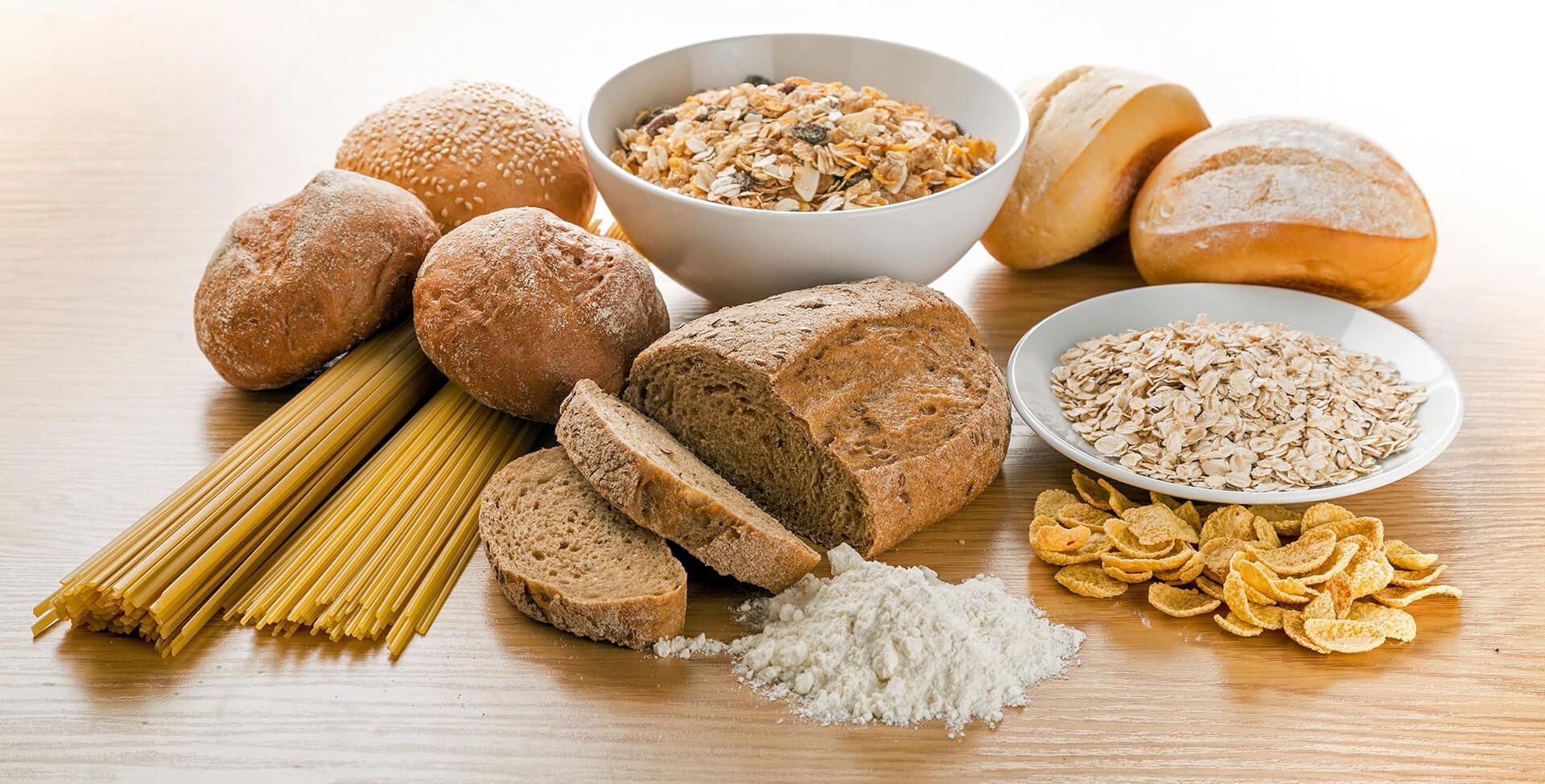 Pães e massas contém glúten